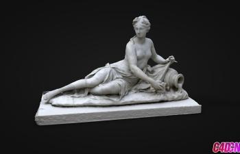 C4D模型 躺在床上的女人人物雕塑模型 arethuse louvre museum