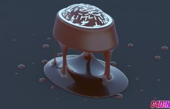 C4D教程 巧克力蛋糕食品建模渲染教程 Cinema 4d Chocolate