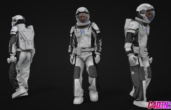 C4D模型 精品宇航员男子宇航服人物模型