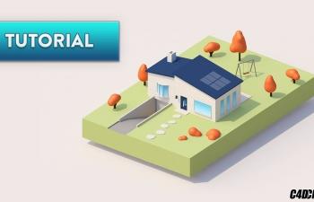 C4D教程 lowpoly低面模卡通房子建模渲染教程