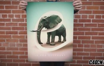 用Cinema 4D 和 Photoshop 创建低面数对象效果的海报