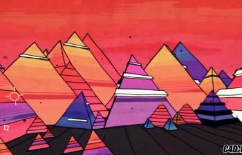 C4D精品工程 No.136 二维卡通金字塔多边形生长 trianglefield two