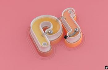 [C4D字体设计]-粉嫩弹珠字