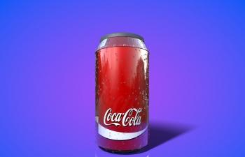 流满水珠的可口可乐瓶模型Coca cola can