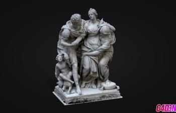 C4D模型 人物雕塑模型 arria et ptus louvre museum