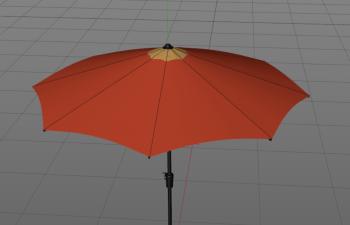 C4D雨伞展闭合预设模型 outdoor 9ft umbrella XP