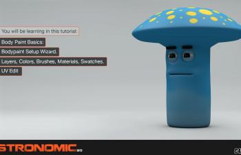 C4D教程-Bodypaint模块贴图绘制和UV编辑制作卡通蘑菇形象教程