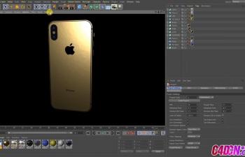 苹果X手机模型金色材质建模渲染C4D教程 How to modeling iPhone X