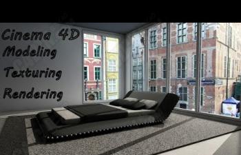 C4D教程 室内卧室睡床模型贴图材质渲染教程