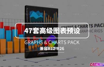 C4D预设 47套高级图表数据统计表现合集预设