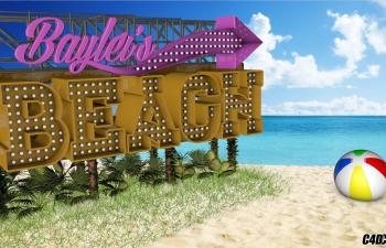 C4D夏天海边沙滩指示牌广告牌模型 Summer Beach by Kris Spelce