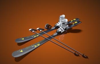 滑雪雪橇套装装备模型