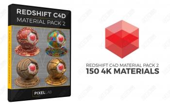C4D材质 150种Redshift渲染器材质球合集 C4D Redshift Material Texture Sampler Pack 2