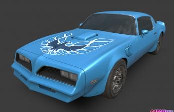 庞蒂亚克Firebird跑车轿跑轿车汽车C4D模型 pontiac firebird 1977