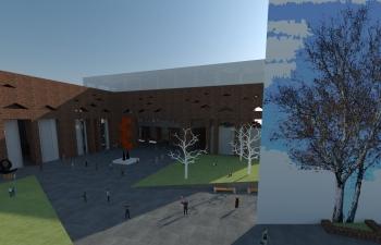 C4D大型校园、图书馆建筑模型