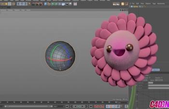 C4D毛茸茸可爱花卉向日葵建模材质渲染C4D教程