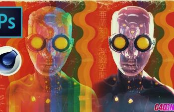 C4D教程 机器人朋克风格炫彩玻璃材质渲染photoshop合成教程