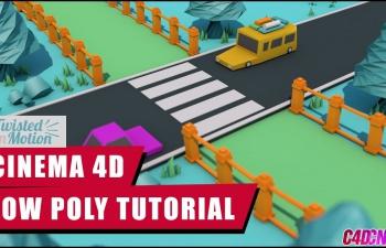 C4D教程 制作Low Poly低面模风格小汽车公路场景建模渲染调色教程(含工