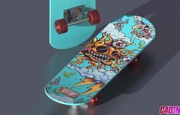C4D教程 Prorender渲染器制作滑板车建模材质UV渲染教程