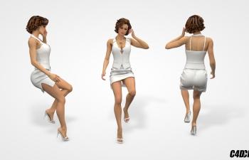 C4D模型 短发职业女性模型