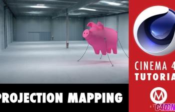 在7分钟内学习投影映射三维建模模拟照片立体化合成C4D教程