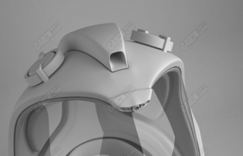 科幻未来风格玻璃罩头盔C4D模型 Science Fiction Future Style Glass Cover Helmet C4D Model