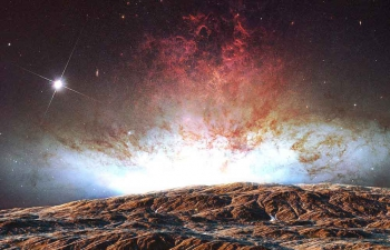 Octane渲染器站在银河系下的山脉上的宇航员C4D模型