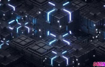 C4D+AE教程 Octane渲染器制作科幻机械箱子循环动画教程