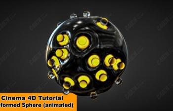 C4D动画教程变形球体 Animated Deformed Sphere (Cinema 4D Tutorial)
