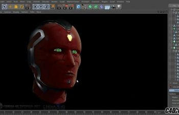 C4D机械人头部模型建模雕刻教程