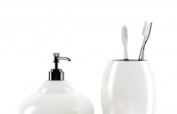 C4D模型 陶瓷材质牙刷缸子肥皂盒喷水瓶子模型