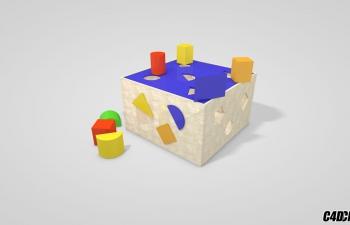 C4D模型 积木盒子玩具模型