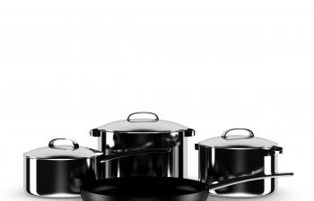 C4D模型 不锈钢锅具组合模型平底锅煮饭锅