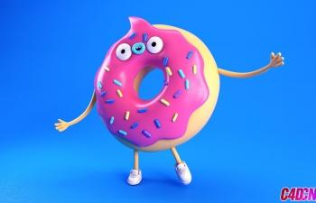 C4D物理渲染器卡通面包圈小人角色塑料材质渲染C4D教程