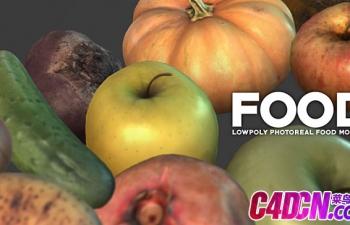10组精品水果蔬菜模型苹果梨石榴黄瓜猕猴桃哈密瓜南瓜茄子3D模型