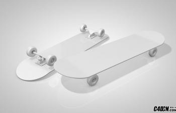 C4D滑板车模型(白模)