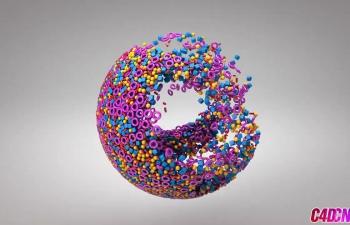 C4D教程 运动图形工具模拟粒子汇聚球体动画教程