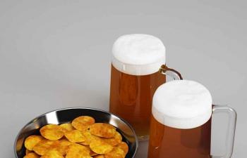 薯片零食啤酒C4D模型