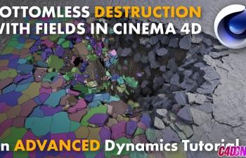 C4D教程 力场动力学破碎模拟地面塌陷特效教程