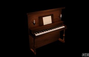 C4D带蜡烛台的木质钢琴模型