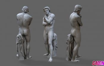 C4D模型 斯巴达克斯卢浮宫博物馆雕塑模型