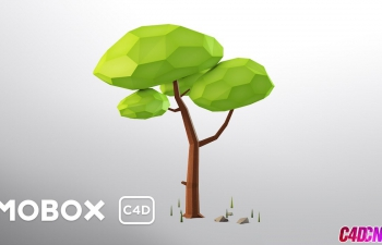 Low Poly风格低面模低多边形卡通小树无缝背景C4D教程