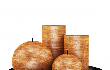 C4D模型 木纹复古陶瓷蜡烛台摆件装饰品模型