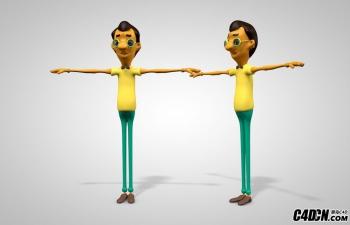 C4D穿黄T恤戴眼镜的卡通男性角色模型