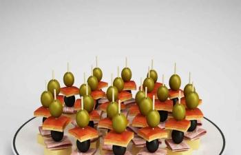葡萄水果美食拼盘C4D模型