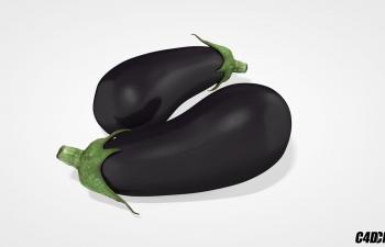 茄子 C4D蔬菜模型