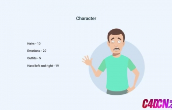 卡通人物文字解说动画元素AE模板下载