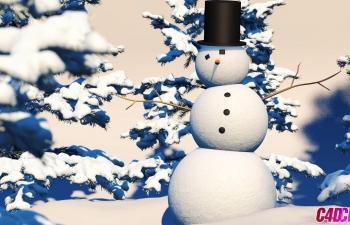 冬天雪人场景建模冰雪材质渲染C4D教程