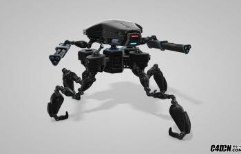 C4D四腿战争机器人机械怪兽绑定预设汉化版