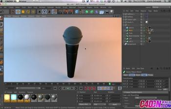 麦克风制作建模渲染C4D教程 Modeling Realistic Wire Meshes and Model a Microphone Tutorial